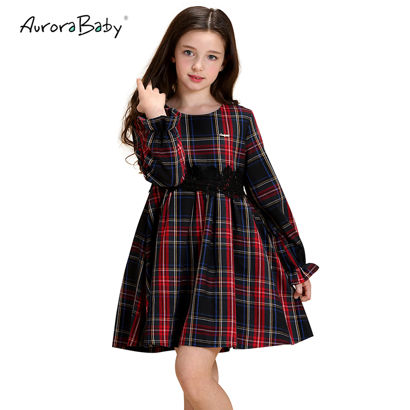 AuroraBaby Thick Girls Plaid Dresses Autumn Long Sleeve Children Girls Dresses Clothes Toddler Girls Kids Cotton Dress 3-10Y toddlers girls dots deer pleated cotton dress long sleeve dresses