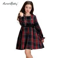 AuroraBaby Thick Girls Plaid Dresses Autumn Long Sleeve Children Girls Dresses Clothes Toddler Girls Kids Cotton Dress 3 10Y