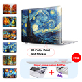 Starry Night Painting Fashion Clear Print Cover Case for Apple MacBook Pro Retina 13 15 New Mac book Air 11 12 13.3 inch