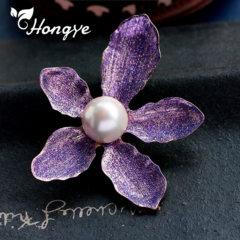 Beautiful Plant Enamel Craft Brooch Pin Big Tree Leaves Purple Orange Natural Pearl Fashion Jewelry Luxury Pins Drop Shipping in Hair Jewelry Brooches Body Jewelry from Jewelry Accessories