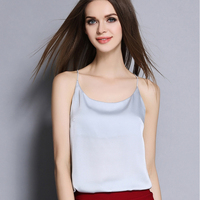 2016 New Summer Sexy Faux Silk Women Strappy Tank Top Deep V Neck Camisole Sleeveless Casual