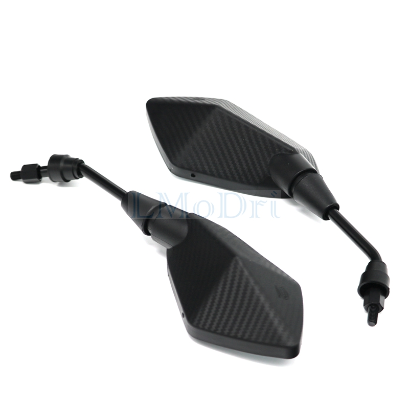 LMoDri 2Pcs/Pair Motorcycle Mirror Scooter E-Bike Rearview Mirrors Electrombile Back Side Convex Mirror 8mm 10mm Carbon Fiber 3