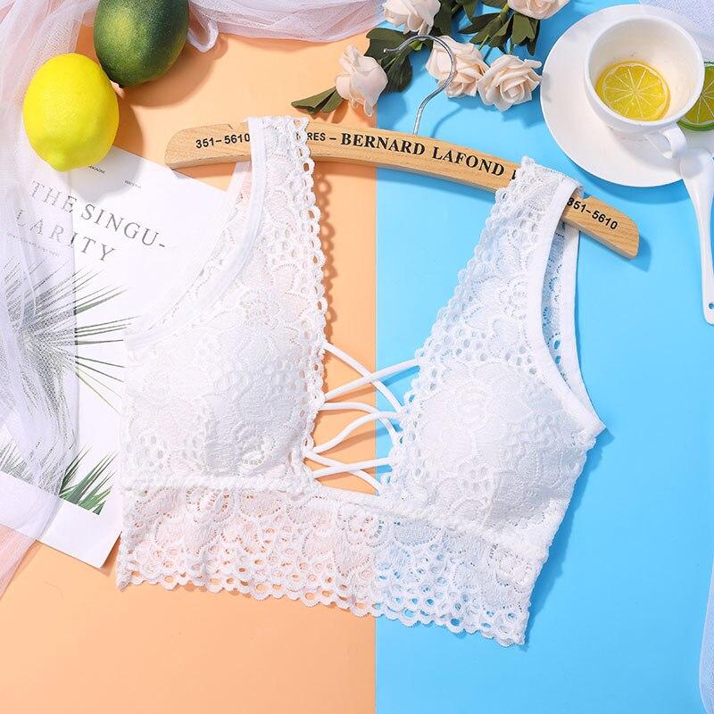01add64d07 Women Seamless Padded Bras Wide Strap Lace Bralette Bras for Women ...