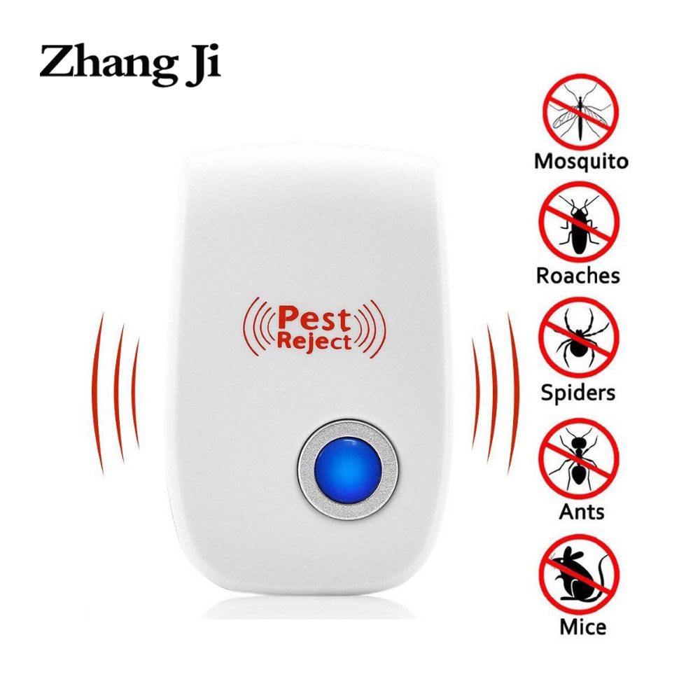 ZhangJi 2PCs US Plug Ultrasonic Pest Repeller Indoor Electronic Insect Reject Anti Mosquito Mouse Cockroach Mace Repellent