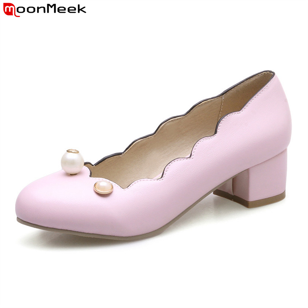 MoonMeek 2018 new arrive sweet pumps women shoes slip on round toe med square heel pink white light blue color ladies shoes real image blue womens sandals cheap modest slip on new arrive hot ladies evening shoes custom made sandales femmes sexy