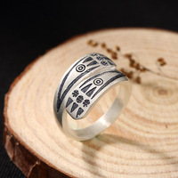 925 Silver Restoring Ancient Ways Do Old Totem Contracted Mouth Ring Character Joker Sterling Silver Ring