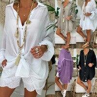 Плюс размер льняная рубашка женская белая рубашка на пуговицах для женщин длинный рукав Свободный Повседневный хлопковый Блузка Топы Коре...