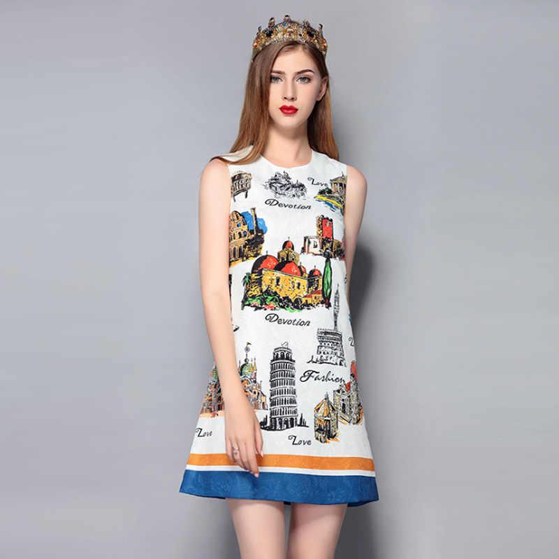 ใหม่แฟชั่นผู้หญิงฤดูใบไม้ผลิฤดูร้อนคุณภาพสูงชุด Amazing สถาปัตยกรรมปราสาท Elegant แขนกุดผู้หญิงสีขาวชุด