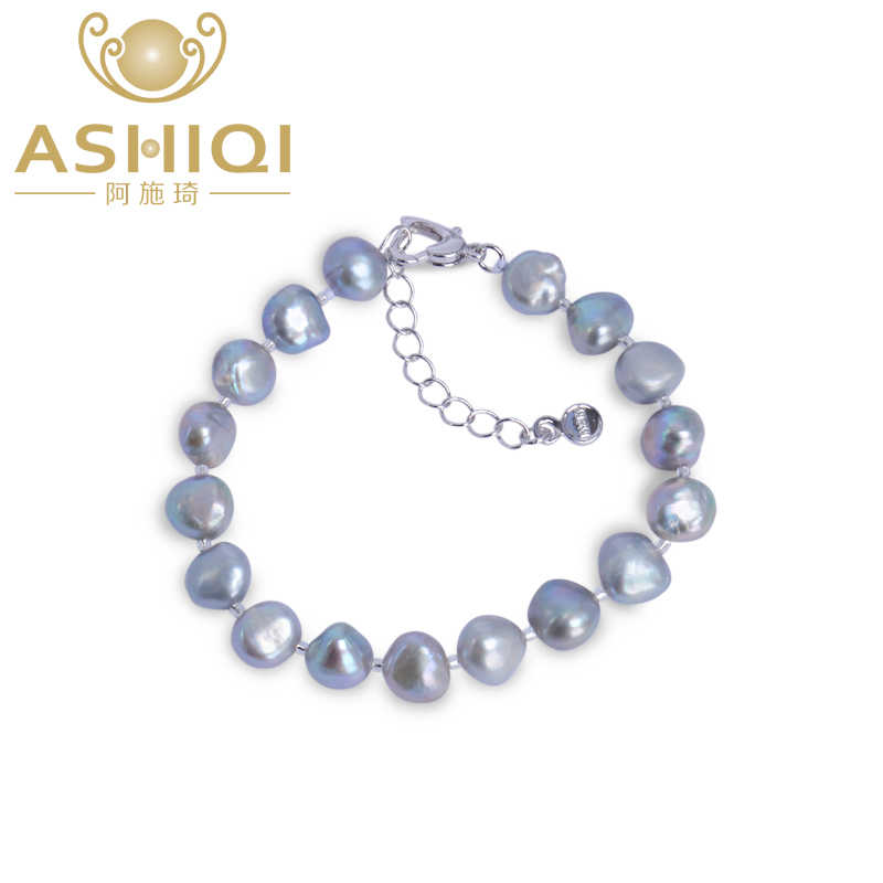 ASHIQI Genuine Natural Freshwater Baroque Pearl Bracelets For Women 9-10mm Black Gray Pearls Jewellery Fashion