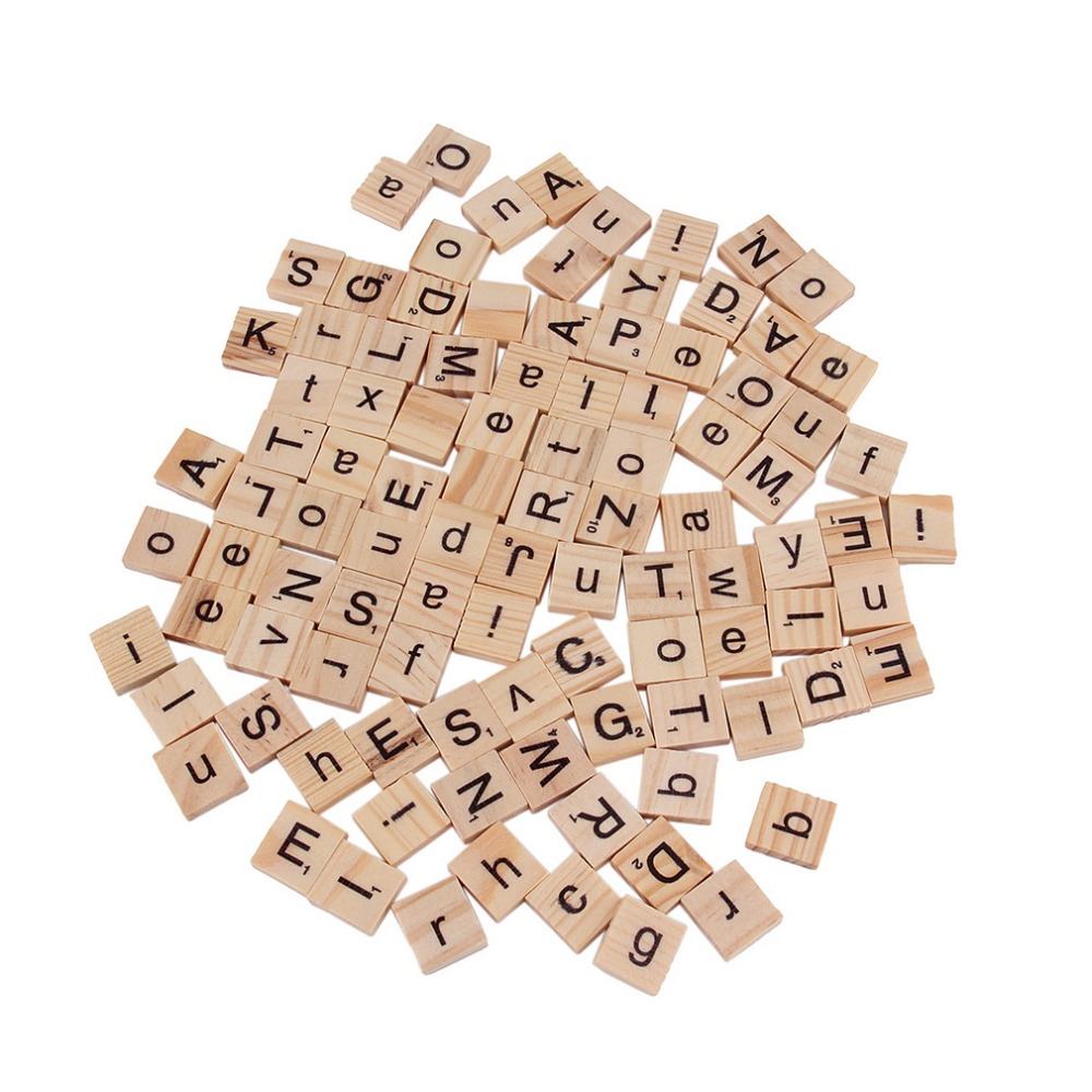 3sets hot 100pcsset wooden alphabet for scrabble tiles black letters numbers for