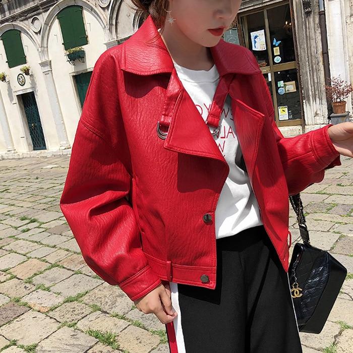 New Ladies Red   Leather   Jackets 2019 Spring Autumn Loose Batwing Sleeved Short Coats Women Biker Moto Style Basic Balck Jackets