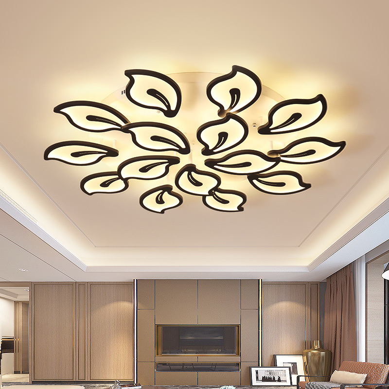 Ceiling Lights & Fans Ceiling Lights Modern Led Ceiling Light Iron Crystal Home Decoration Luxury Interior Lamps Novelty Lighting Fixture For Living Room Black Leaf