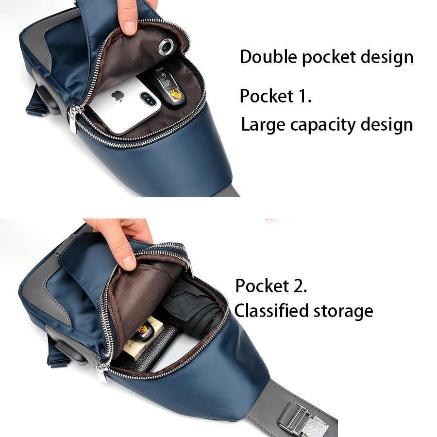 Мужская сумка через плечо из ткани Оксфорд, нагрудные сумки через плечо, повседневные сумки через плечо, Мужская многофункциональная сумка с зарядкой через USB