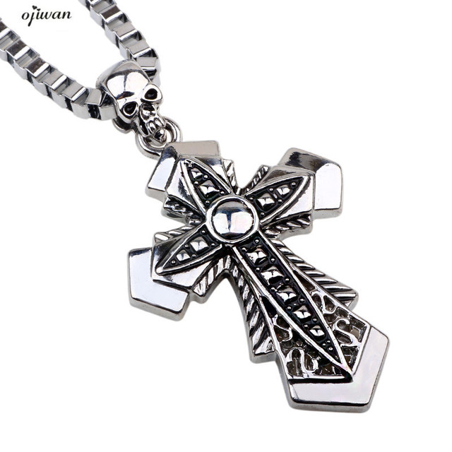 Catholic Cross Necklace Men Hip Hop Stainless Steel Box Chain