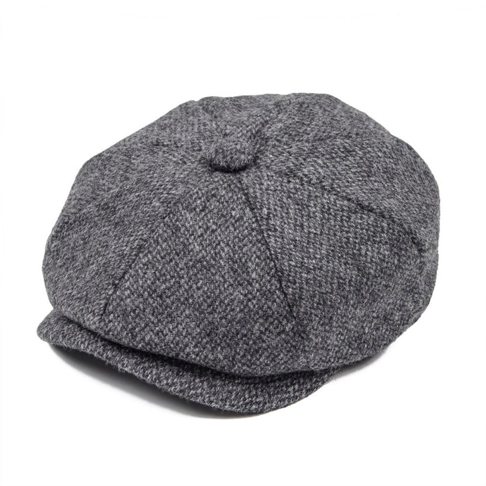 JANGOUL de lana Tweed cachucha hombres Baker Boy de otoño invierno de  espiga Boina gris Gatsby tapas taxista conductor sombrero de papá 004 7af8e658691