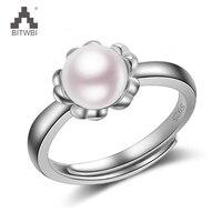 100% 925 כסף כסף סטרלינג 925 תכשיטי כסף טבעת פנינה טבעית כסף מאהב פתיחה נשי אביזרי יד טבעת