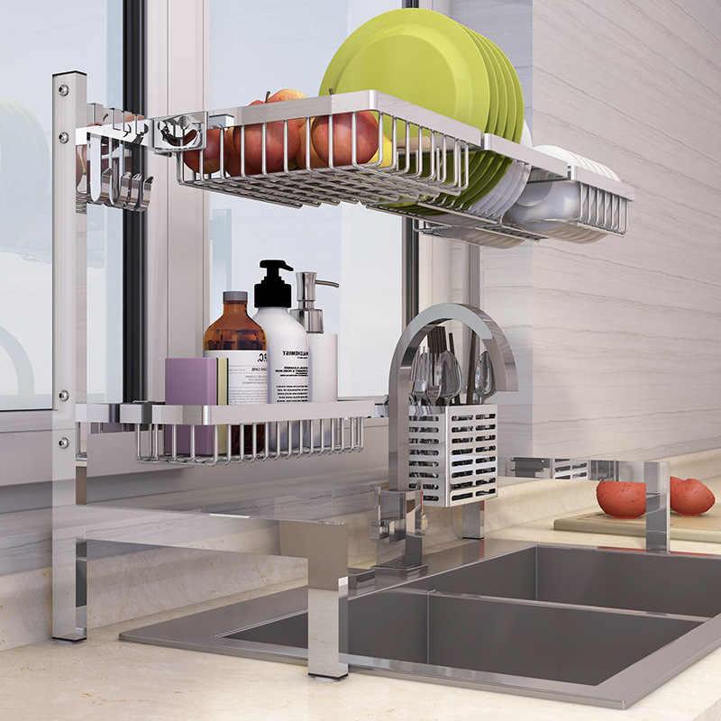 Stainless Steel Kitchen Dish Rack Plate Cutlery Cup Dish Drainer Sink Drying Rack Kitchen Organizer Storage Holder Dishes Racks