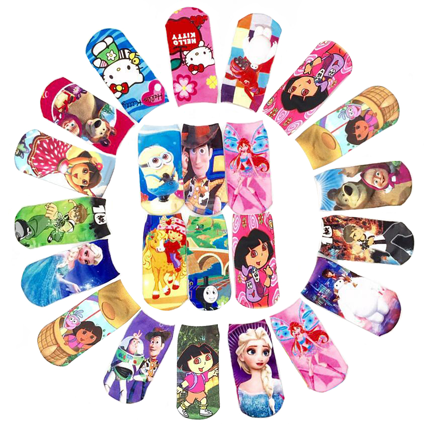 Winter Kids Socks Boys Girls Cute Kawaii Kitty Cartoon Sock Captain America Elsa Alice Princess Mesh 3D Print Children Sock Toys