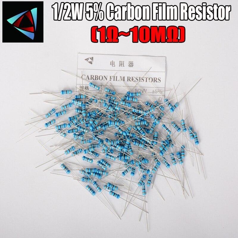 50pcs 1/2W Carbon Film Resistor 5% 1R ~ 1M 1 2 10 22 47 100 330 Ohm 1K 4.7K 10K 22K 47K 100K 330K 470K 2R 10R 22R 47R 100R 330R