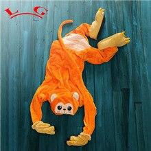 L G Novelty Adult Animal Orange Monkey Pajamas Cute Fleece Full Sleeves Hooded Sleepwear Unisex Winter Nightwear 000100