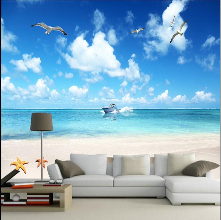 US $9.79 51% OFF|Blau himmel wolke meer mew vogel 3d tapete wohnzimmer wand  papier malerei öl malerei papel wandbild 3d für schlafzimmer tv ...
