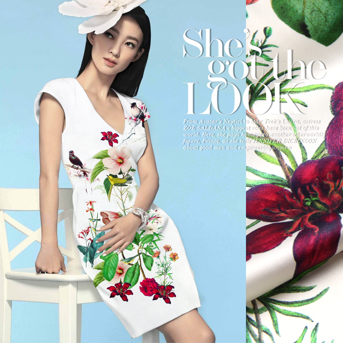 Histoire de Jenny soie tissu en soie tissu LB Satin Stretch cheongsam  vêtements  matériel  oiseaux chanter et fleurs donner de suite parfum ef55a895875d