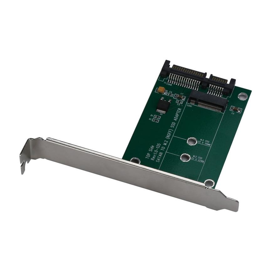 M.2 SSD (NGFF) to SATAIII SATA-3 Adapter Card with Full & Low Profile Brackets jun22 ssd msata to b key m 2 ngff sata adapter converter adapter card board for laptop desktop