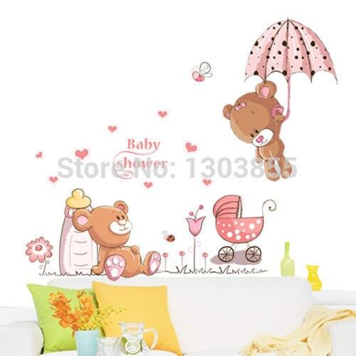Мишка Цветы Стикер Стены Наклейки Дети Детские Детские Декор Съемный
