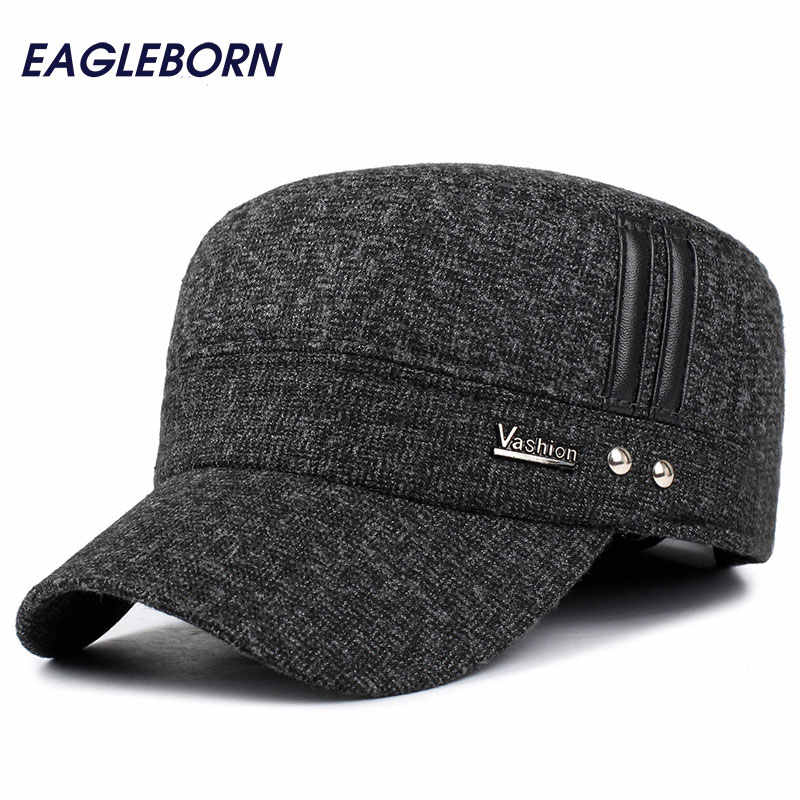 bd7b708611e62 EAGLEBORN Winter hats men caps hat with earflaps keep warm flat roof baseball  caps old men