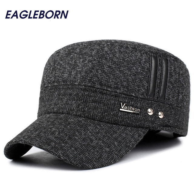 7a119543 EAGLEBORN Winter hats men caps hat with earflaps keep warm flat roof baseball  caps old men