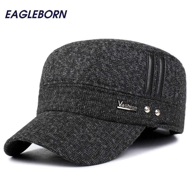 EAGLEBORN Winter hats men caps hat with earflaps keep warm flat roof baseball  caps old men 83f27907a5c8