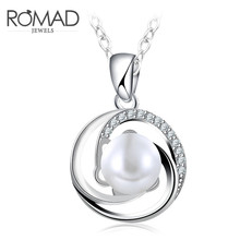 Temperament Around The Imitation Pearls Silver Color White Crysta Pendant Necklace with Chain for Women Wedding Birthday Gift