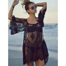 HOT SALE!Fashion Women Hot Vintage Hippie Embroidery Floral Lace Crochet Mini Party Chiffon Dress Black XL(China)