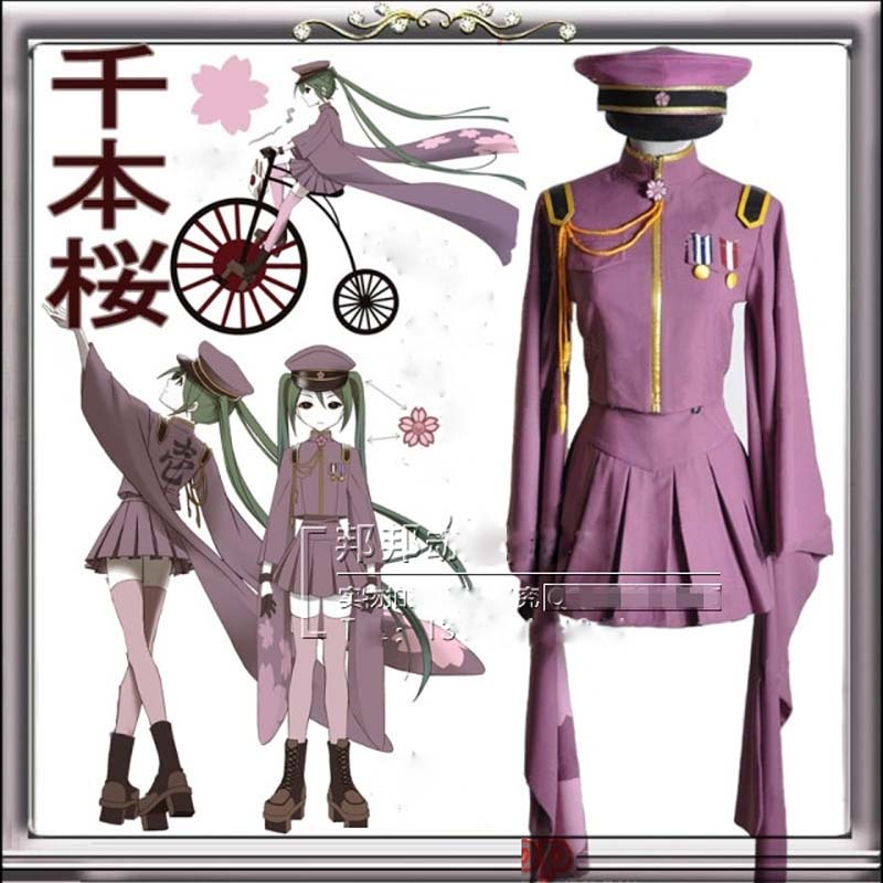 Vocaloid MIKU SenbonZakura Cosplay Kostym Vocaloid Uniform Custom Made Full Set (Top + Kjol + Cap + Strumpor + Handskar)