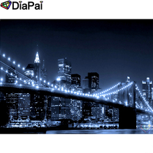 DIAPAI Diamond Painting 5D DIY 100% Full Square/Round Drill Bridge city view Embroidery Cross Stitch 3D Decor A24853