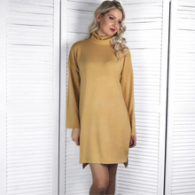 Vintage Turtleneck Knitted Dress Women 2018 Autumn Winter Warm Sweater Dresses Casual Solid Long Sleeve Loose Dress Vestidos fashion autumn knitted dresses women casual long sleeve loose asymmetry sweater dress large size long dress vestidos