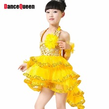 Latin Dance Dress Children Rose/Yellow/Blue Girls Dancewear Kids Enfeites Para Quarto Practice/Competition Cha Cha/Rumba Skirt