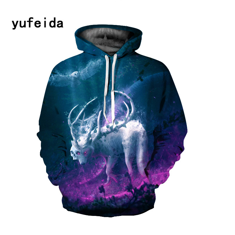 YUFEIDA Men Women 3D Print Hoodies Winter Sweatshirts Pullover Autumn Tracksuits Outwear Casual Animal Print Hoody