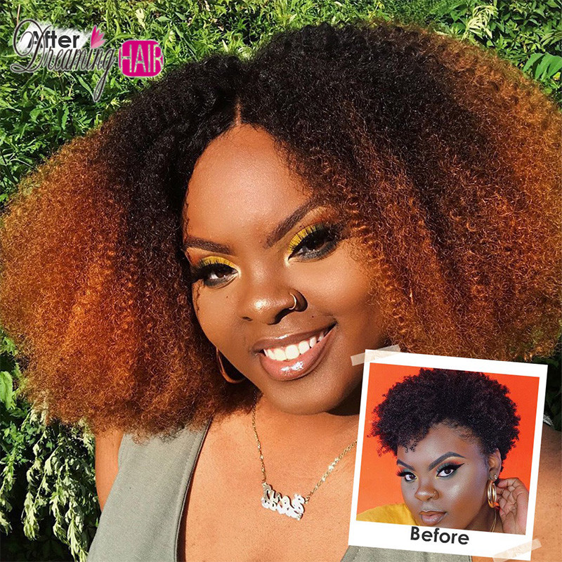 1b 30 Ombre Mongolian Afro Kinky Curly Wig Lace Front Human Hair Wigs For Black Women Pre Plucked 150 Density Remy Wigs