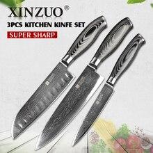 XINZUO 3 unids cuchillos de cocina set 73 capas de Damasco Japonés set de cuchillos de cocina cocinero VG10 cuchillos mango de madera libre gratis