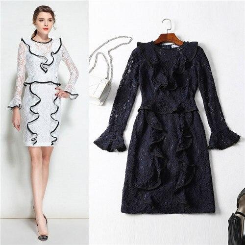 beautiful designer peplum dress new arrival 2018 luxury italian brand spring long sleeve lace ruffle dresses white free shipping