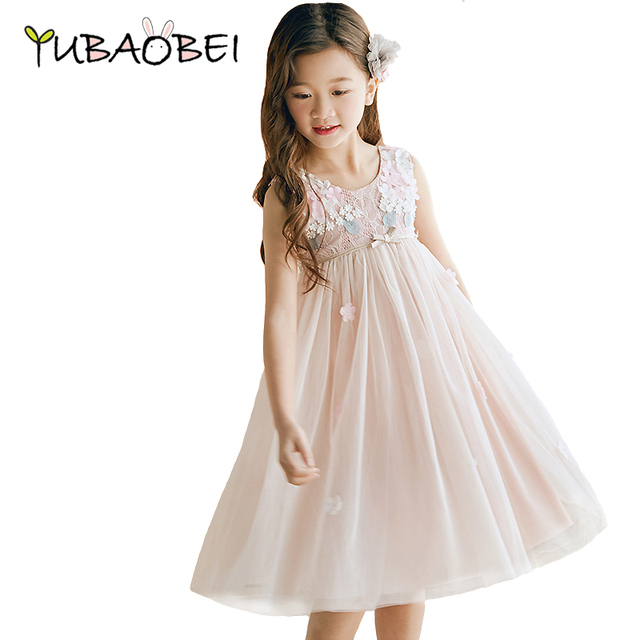 cb07abd9b New Summer Tutu Sleeveless Girls Wedding Party Dress Flower Embroidery  Child Kids Elegent Fashion Clothing Beautiful Lace Dress