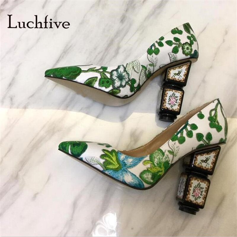 Fashion Embroider Women pumps pointed toe shallow women shoes strange High heels wedding party slip on black green zapatos mujer new zapatos mujer ultra high heels embroidery boss lady pointed toe stilettos slip on shallow pumps leather women party shoes