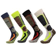 Зимние длинные Лыжные носки, теплые мужские и женские носки, теплые толстые хлопковые носки для сноуборда, альпинизма, кемпинга, туризма, спорта