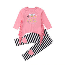 Toddler Infant Baby Girls Kids Clothes Bee Print T-Shirt Long Sleeve Tassel Tops Casual Striped Pants Outfits Clothes Set 2019 цена 2017