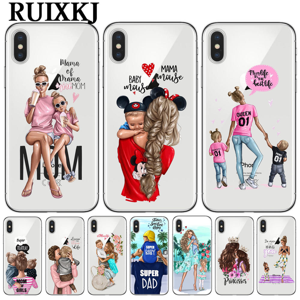 Yinuoda Black Brown Hair Baby Mom Girl Queen Novelty Fundas Phone Case For Iphone 8 7 6 6s 6plus X Xs Max 5 5s Se Xr 10 Cases Cellphones & Telecommunications Phone Bags & Cases