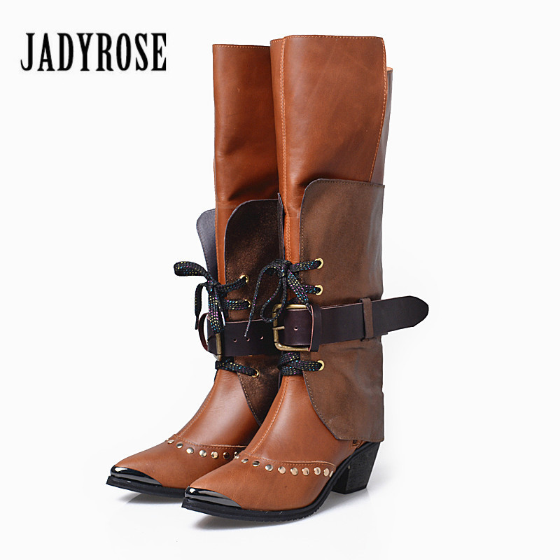 Jady Rose Women Knee High Boots Vinatge Pointed Toe Riding Boots High Heel Shoes Woman Botas Militares Straps Winter Boot prova perfetto fashion women knee high boots pointed toe riding boots high heel shoes woman straps lace up winter warm boot