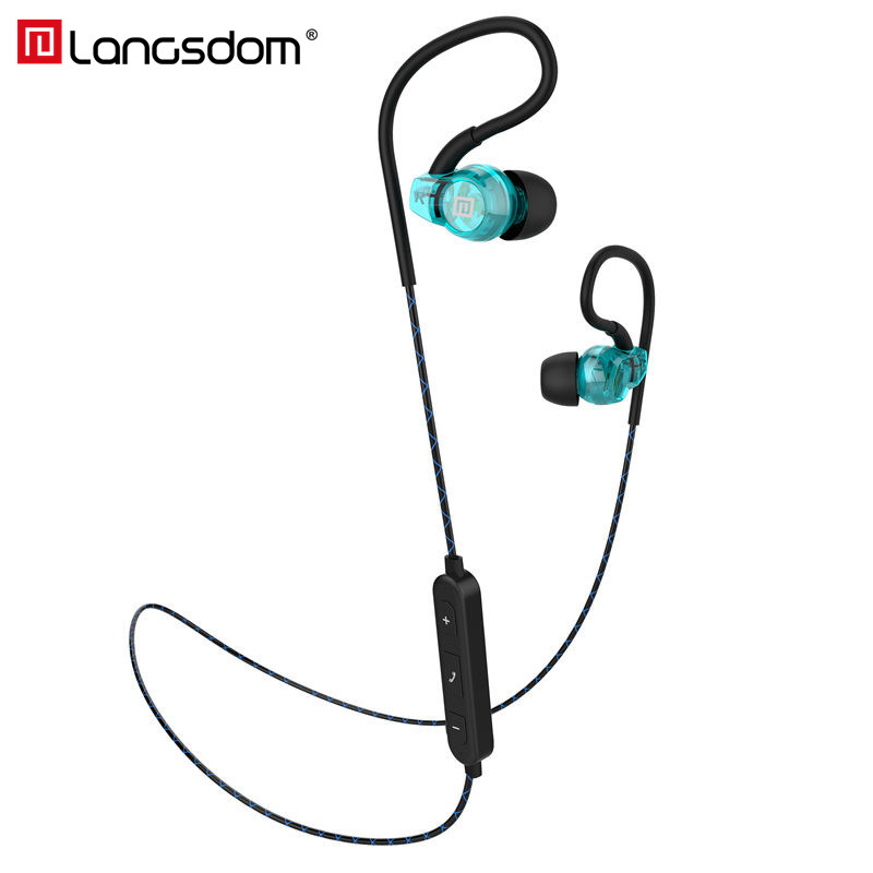 Sport Bluetooth Earphone with microphone Langsdom BS80 Wireless Headset Headphone for Phone Fone de ouvido Auriculares Bluetooth showkoo stereo headset bluetooth wireless headphones with microphone fone de ouvido sport earphone for women girls auriculares