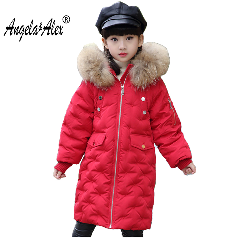 Angela&Alex Children Winter Jacket High Quality White Duck Down Coat for Teenagers Girls Boys Hooded Big Fur Collar Long Parka