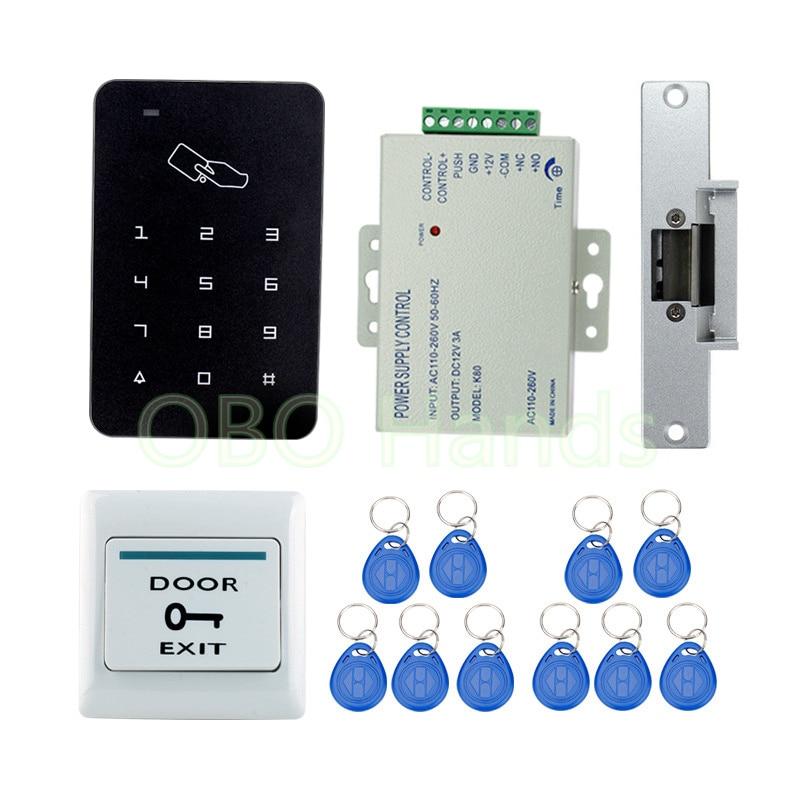 Very Cheap RFID Door Access Control System Kit Set Digital Keypad+ NC Strike Door Lock+ 10 keyfobs + Power Supply + Exit Button digital electric best rfid hotel electronic door lock for flat apartment